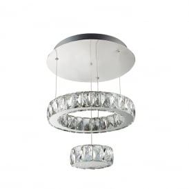 Clover LED 2 Tiered Ceiling Pendant In Polished Chrome And Crystal Glass Finish