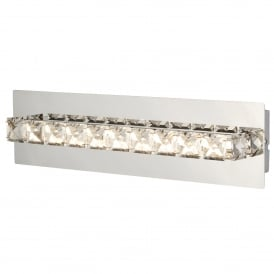 Clover Single Light LED Wall Fitting In Polished Chrome And Crystal Glass Finish