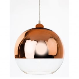 Club Single Light Ceiling Pendant In Copper And Clear Glass Finish