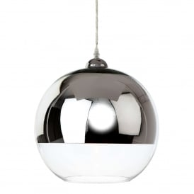 Club Single Light Ceiling Pendant In Polished Chrome And Clear Glass Finish