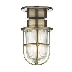 Coast Single Light Outdoor Ceiling Fitting Made From Solid Brass in Antique Brass