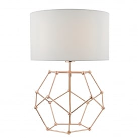 Coen Single Light Table Lamp in Copper Finish Complete with White Cotton Shade