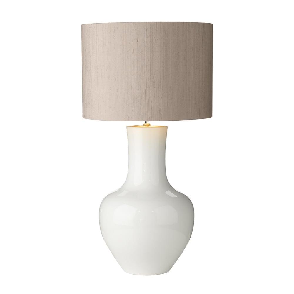David Hunt Lighting Como Single Light Large Ceramic Table Lamp Base Only In  White Finish   Lighting Type From Castlegate Lights UK