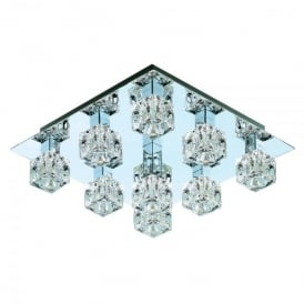 Cool Ice 9 Light Halogen Flush Ceiling Fitting In Polished Chrome