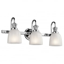 Cora 3 LED Bathroom Wall Fitting in Polished Chrome Finish Complete with Glass Shades