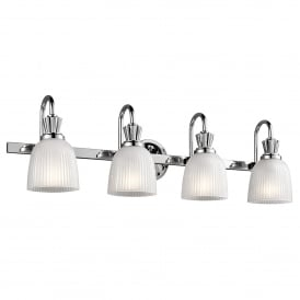 Cora 4 LED Bathroom Wall Fitting in Polished Chrome Finish Complete with Glass Shades