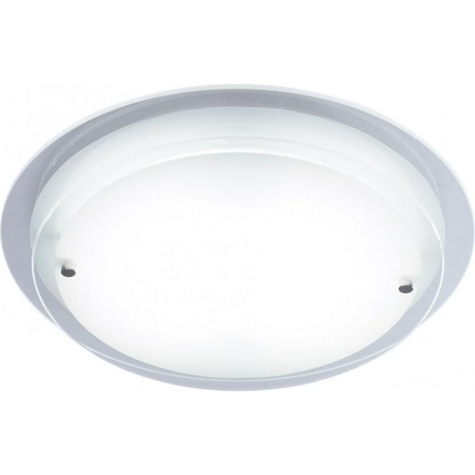 Dar Lighting Corpus Single Light Low Energy Ceiling Fitting with Frosted Glass and White Finish