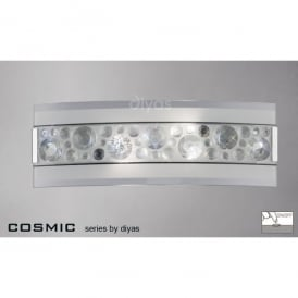 Cosmic 2 Light Switched Polished Chrome Wall Fitting with Crystal Decoration