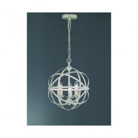 Cosmic Cream Finish 3 Light Ceiling Fitting With Hand-Brushed Gold Highlights