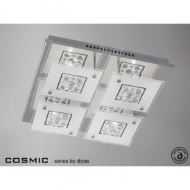 Cosmic Flush 4 Light Polished Chrome Ceiling Fitting with Frosted Glass