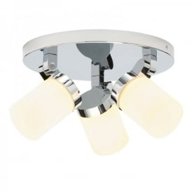 Cosmo 3 Light Bathroom Ceiling Spot Light Fitting in Polished Chrome And Opal Glass Finish
