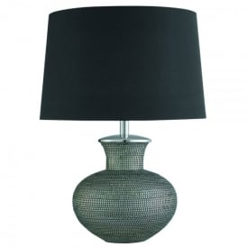 Cosmopolitan Single Light Table Lamp In Pewter Finish With Black Shade