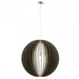 Cossano Extra Large Single Light Ceiling Pendant In Satin Nickel And Dark Wood Finish