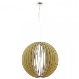 Cossano Extra Large Single Light Ceiling Pendant In Satin Nickel And Maple Wood Finish