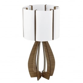 Cossano Single Light Table Lamp With Dark Brown Wood Base And White Acrylic Shade