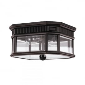 Cotswold Lane 2 Light Flush Ceiling Light in Black Finish (Outdoor)
