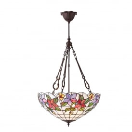 Country Border Large 3 Light Tiffany Ceiling Pendant with a Floral Design