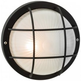 Court Single Outdoor Wall/Ceiling Light in Black Finish with Frosted Glass