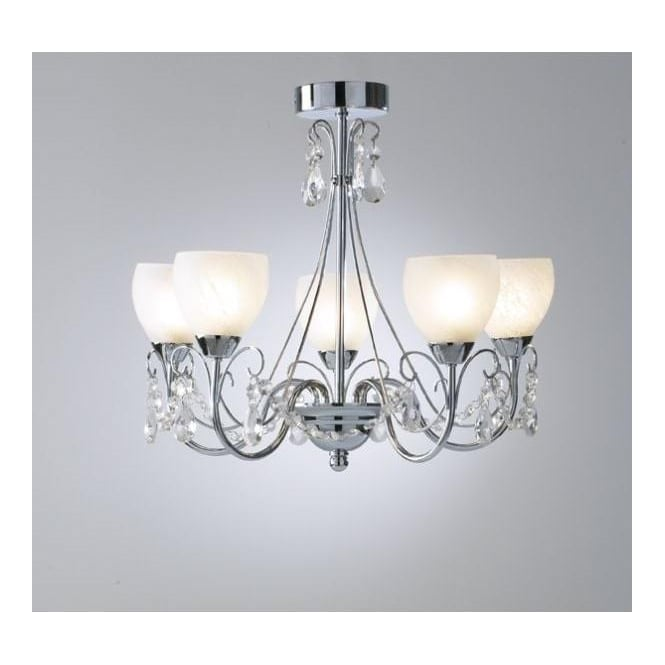 Dar Lighting Crawford 5 Light Bathroom Ceiling Fitting In Polished Chrome Finish With Alabaster Glass