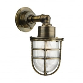 Crewe Single Light Outdoor Wall Fitting Made From Solid Brass in Antique Brass Fnish