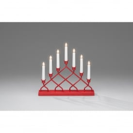 Criss Cross 7 Light Welcome Light with Red Finish