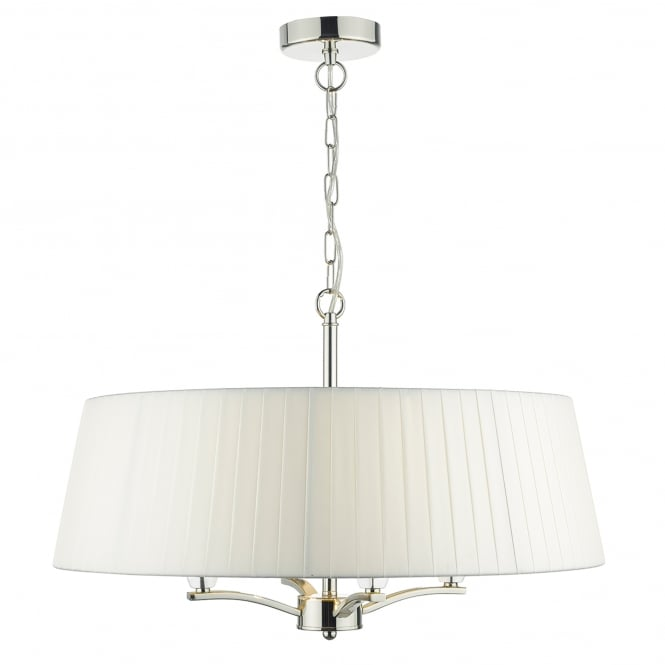 Dar Lighting Cristin 4 Light Ceiling Pendant in Polished Nickel Finish Complete with Ivory Ribbon Shade