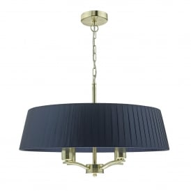 Cristin 4 Light Ceiling Pendant in Satin Brass Finish Complete with Navy Ribbon Shade