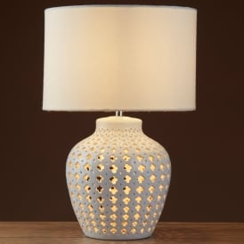 Crochet 2 Light Table Lamp With Whie Ceramic Base And White Drum Shade