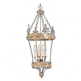 Crown 4 Light Ceiling Pendant in Silver and Gold Finish