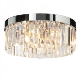Crystal 5 Light Semi-Flush Crystal Ceiling Fitting In Polished Chrome Finish