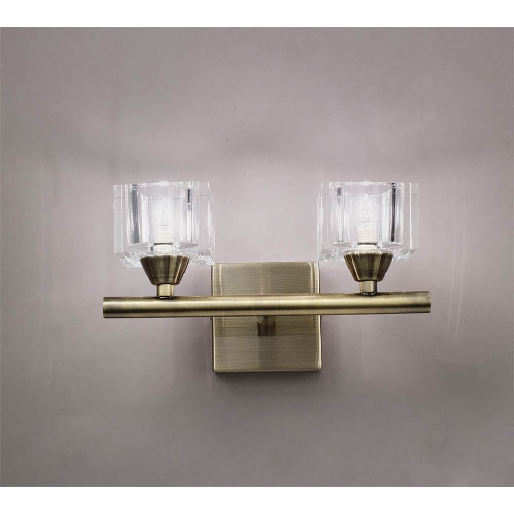 Mantra Cuadrax Double Halogen Switched Wall Light in Antique Brass Finish - Lighting Type from ...