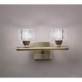 Cuadrax Double Halogen Switched Wall Light in Antique Brass Finish