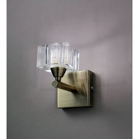Cuadrax Single Halogen Switched Wall Light in Antique Brass Finish