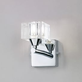 Cuadrax Single Halogen Switched Wall Light in Polished Chrome Finish
