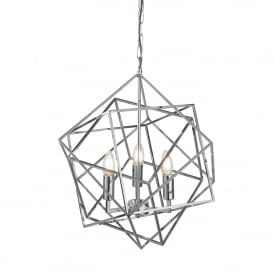 Cube 3 Light Ceiling Pendant In Polished Chrome Finish