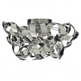 Curls 3 Light Semi Flush Ceiling Fitting In Polished Chrome Finish