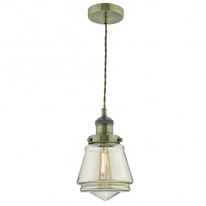 Dar Lighting Curtis Single Light Ceiling Pendant in Antique Brass Finish with Champagne Glass