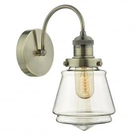 Dar Lighting Curtis Single Light Wall Fitting in Antique Brass Finish with Glass Shade