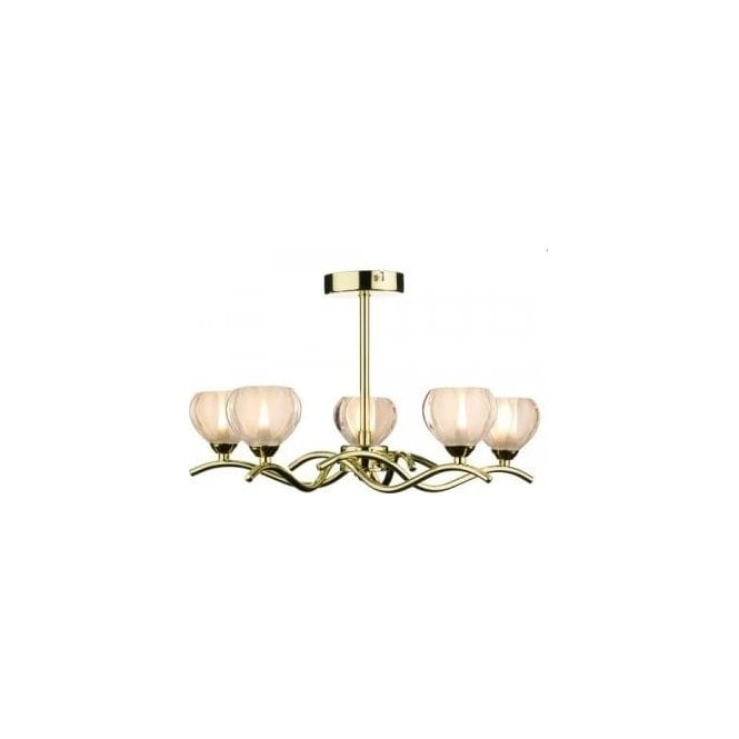 Dar Lighting Cynthia 5 Light Ceiling Fitting in Polished Brass Finish