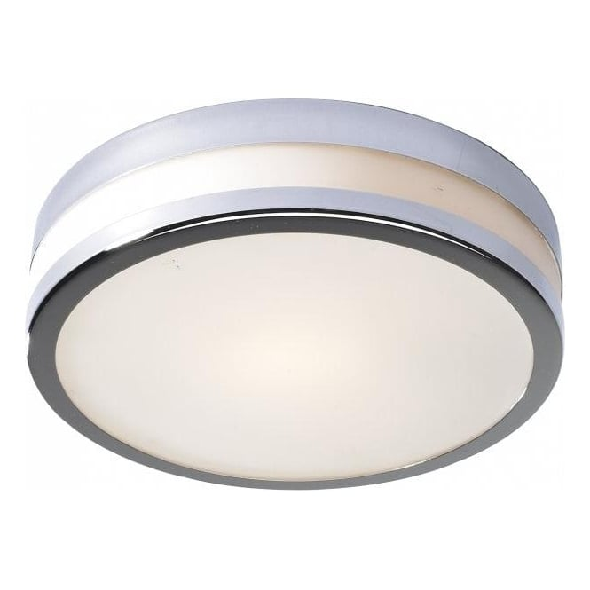 Dar Lighting Cyro Single Light Flush Bathroom Ceiling Fitting in Polished Chrome Finish