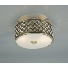D0412 Sasha 2 Light Flush Ceiling Fitting In Antique Brass Finish With Crystal Glass Decoration And Opal Glass Diffuser
