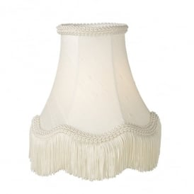 Daisy 16 Inch 100% Silk Shade In Ivory Finish With Scallop Fringe Detail