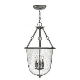 Dakota 3 Light Ceiling Pendant in Polished Antique Nickel Finish with Glass