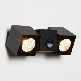 Dallas Double Light LED Outdoor Cube Wall Fitting In Black Finish With Pir Sensor