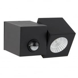 Dallas Single Light LED Outdoor Cube Wall Fitting In Black Finish With Pir Sensor