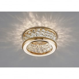 Dante Single Light Recessed Crystal Down Light With French Gold Finish