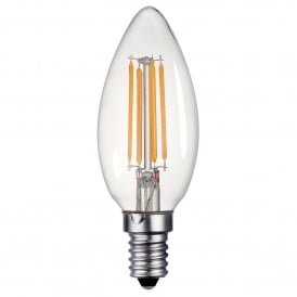 4w Dimmable LED E14 Clear Candle Style Bulb in Warm White
