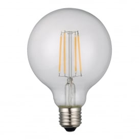 6w Dimmable LED E27 Clear Globe Style Bulb in Warm White
