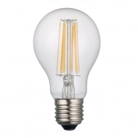 8w Dimmable LED E27 Clear Classic GLS Style Bulb in Warm White