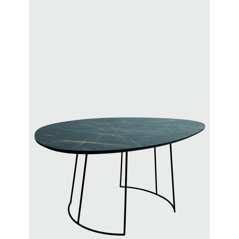 Dar Homewares 001ago001 Agoston Coffee Table In Dark Marble Effect Veneer With Matt Black Metal Legs